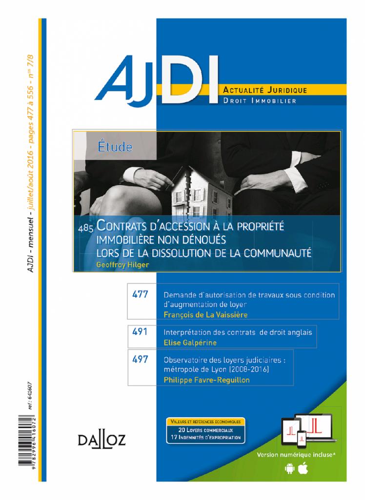 OBSERVATOIRE DES LOYERS COMMERCIAUX JUDICIAIRES - METROPOLE DE LYON - PERIODE 2008-2016 - 1ère EDITION (AJDI)