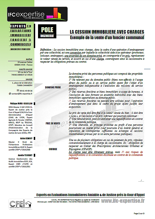LA CESSION IMMOBILIERE D'UN FONCIER COMMUNAL AVEC CHARGE : RESUME PRATIQUE D'UN CAS D'INGENIERIE FONCIERE