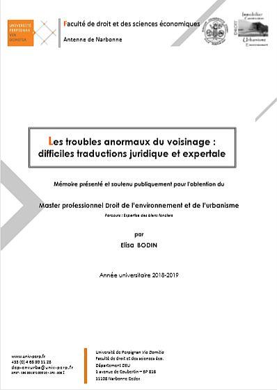 LES TROUBLES ANORMAUX DU VOISINAGE : DIFFICILES TRADUCTIONS JURIDIQUE ET EXPERTALE