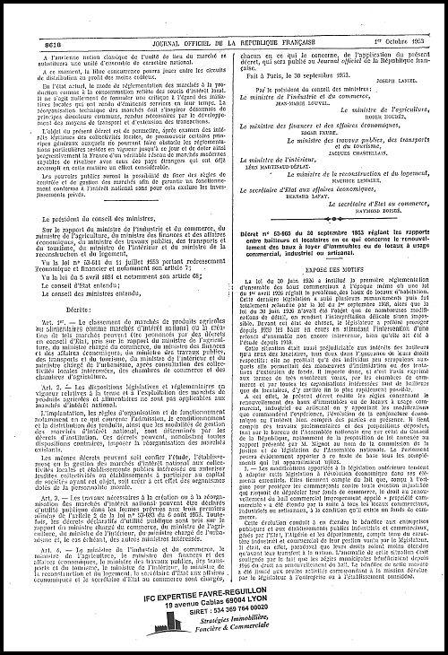 Le décret n°53-969 du 30 septembre 1953