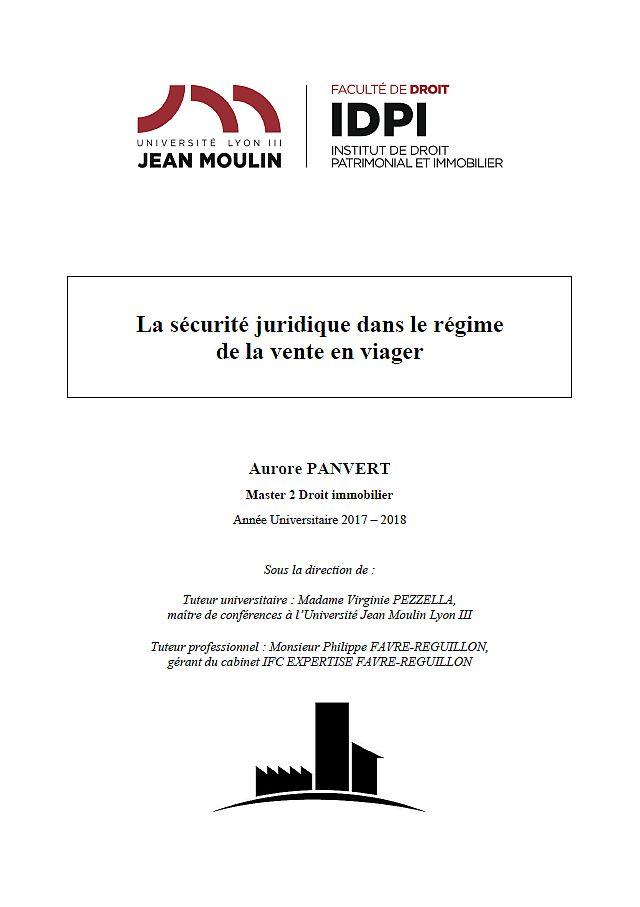 MEMOIRE AURORE PANVERT (COMMENT CALCULER RENTE VIAGERE)