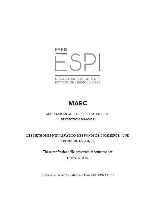 METHODES EVALUATION FONDS DE COMMERCE par CLAIRE KUHN mémoire de fin d'études chez IFC EXPERTISE (2018) cabinet d'experts immobiliers, fonciers et commerce Lyon, Annecy et Chambéry