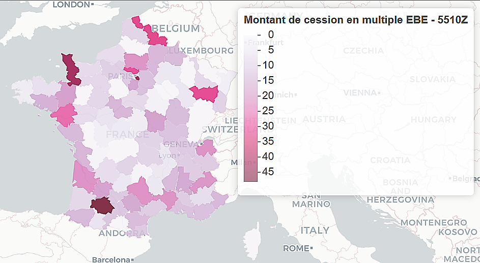 cartographie des prix de cessions de fonds de commerce france entiere en multiples ebe