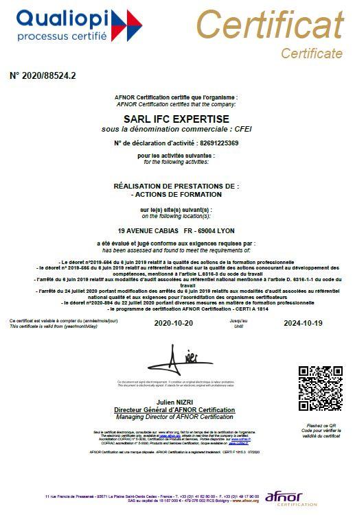 Le centre de formation à l'expertise immobilière est le 1er centre français certifié QUALIOPI